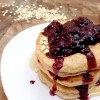 Cinnamon Oatmeal Pancakes with Mixed Berry Compote